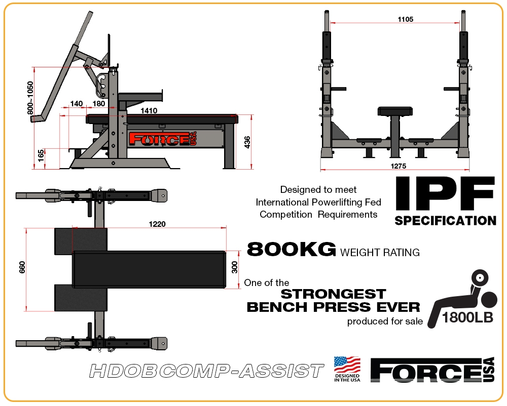 The Force USA Heavy Duty IPF Spec Olympic Bench Press With LeverLift Assist  Has A Massive 800kg Weight Rating!
