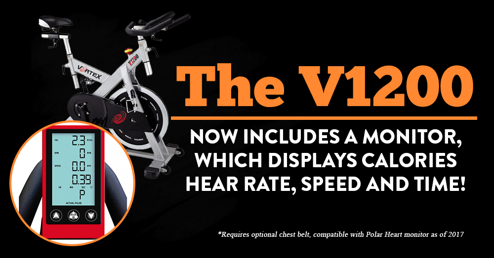 The V1200 now includes a monitor, which displays calories, hear rate, speed and time