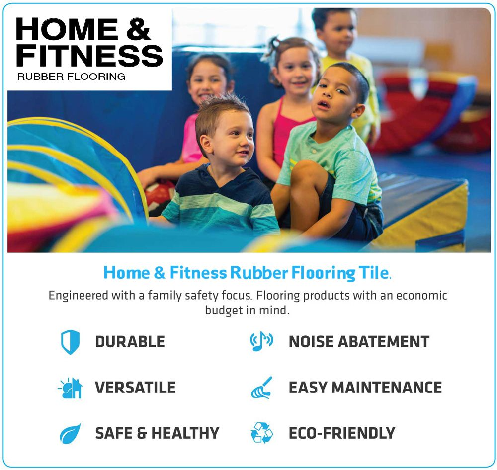 Home & Fitness Rubber Flooring Tile With 6% Blue Fleck